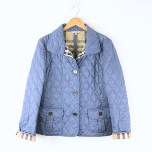 Burberry Nova Check Lined Diamond Quilted Jacket Coat